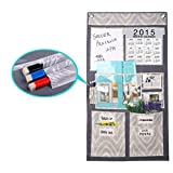 Creative Multi Pockets Over Door Organizer Wall Hanging Storage Bag with Letters Calender Holder Memo Board, Weekly Planner, Bills Organizer,CD Magazine Rack [Free 2 Hooks+3 Erase Marker Pens]