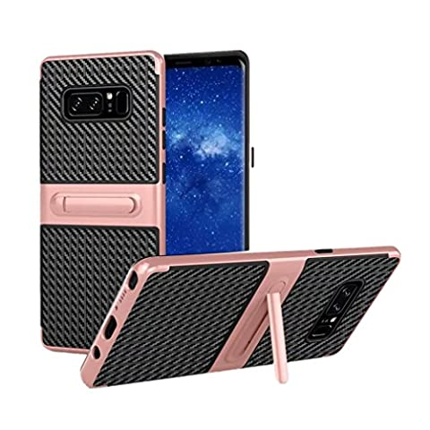 wuayi Shockproof Hybrid TPU + PC Full Cover Case Protector Stand For Samsung Note 8 (Rose Gold)