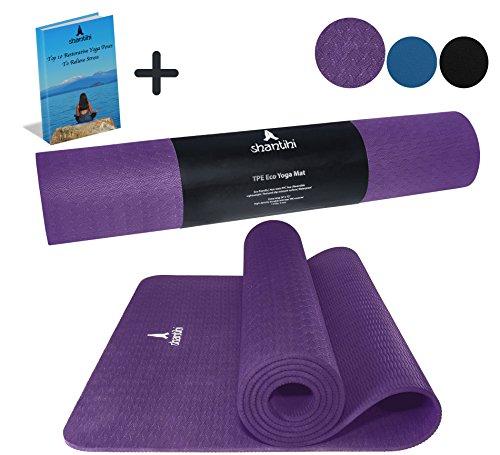 Shantihi Yoga Mat-dick Umweltfreundlich Premium TPE Yogamatte. Rutschfeste, wendbar, leicht, beständig Pilates Matte. GRATIS Bonus eBook. 182,9x 61cm 5mm, dunkelviolett