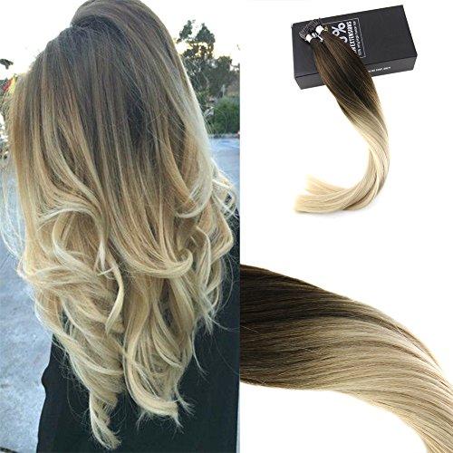 Sunny fusione fredda stick tip capelli castano #4 a biondo #60 ombre 100% remy lisci estensioni dei capelli veri 1g*50g 14