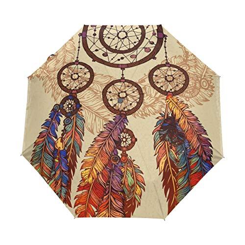 BIGJOKE - Paraguas plegable de 3 pliegues con cierre automático, atrapasueños, plumas tribales étnicas, bohemio, resistente al viento, para viajes, ligero, paraguas de lluvia, compacto para niños y niñas