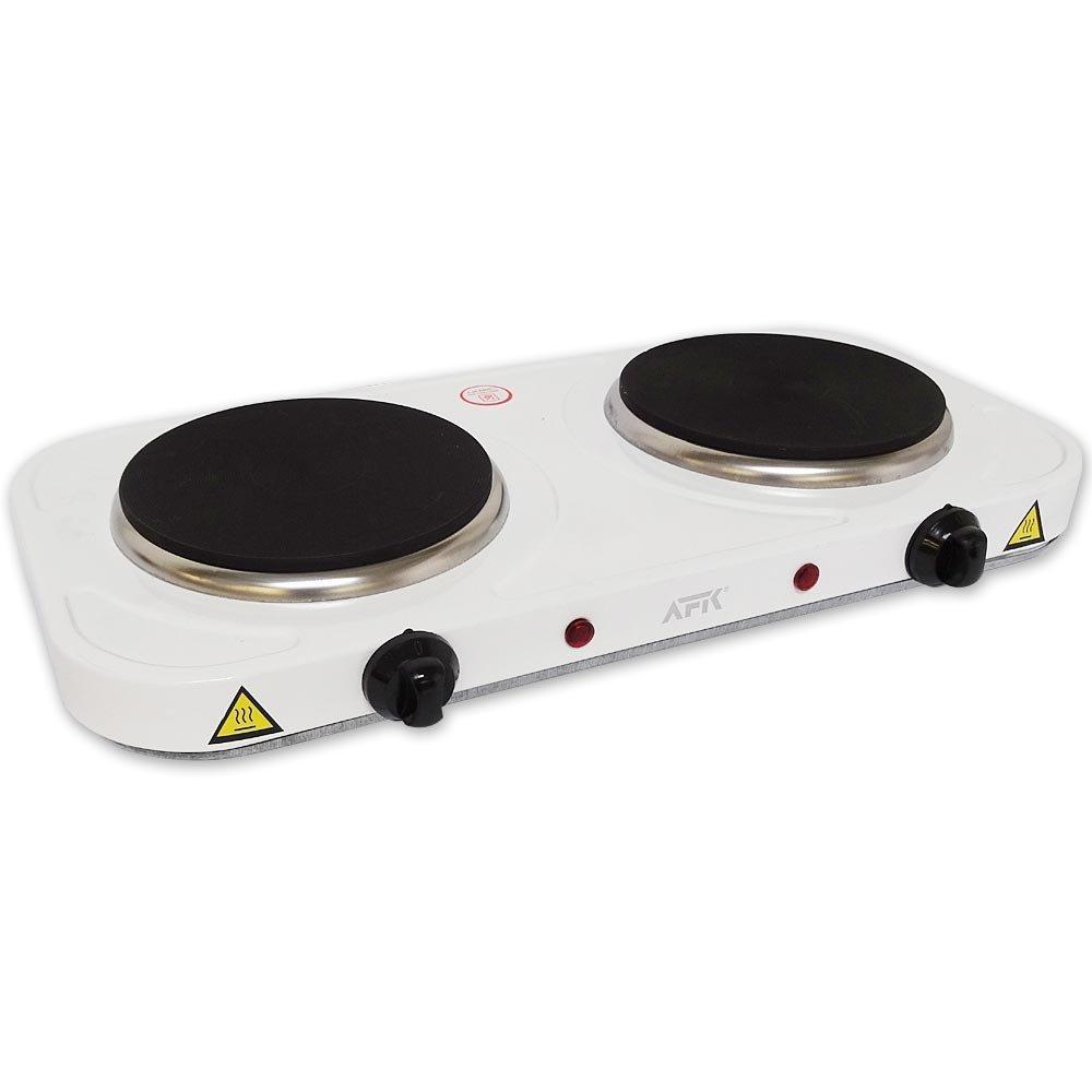 Fornello elettrico doppia piastra da 2.000�watt bianco piano cottura forno elettrico fornello da cam