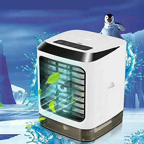 HTJL Mobile klimageräte Air Cooler 4 in 1 Persönliche Klimaanlage, Luftbefeuchter, Luftreiniger, USB Mini luftkühler, 3 Einstellbarer Geschwindigkeit, 7 Farben LED Nachtlicht, 433 Fernbedienung -