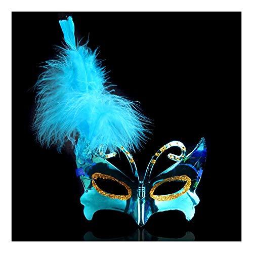 Blauen Kostüm Maske Feder - SCLMJ Damen Maskerade Maske Feder Schmetterling Form Halloween Party Kostüm Maske, Blau