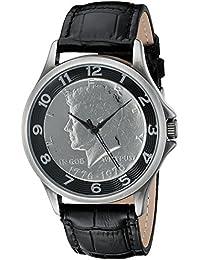 August Steiner Reloj de hombre de cuarzo con Esfera Plateada Pantalla Analógica y Negro Correa de piel cn010bk