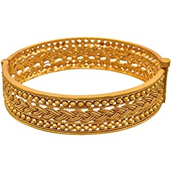 Jfl - Jewellery For Less Traditional Ethnic One Gram Gold Plated Openable Kada For Women