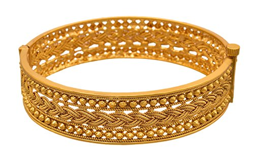 Jfl - Jewellery For Less Jewellery For Less Ethnic One Gram Gold Plated Openable Kada Bangle For Women