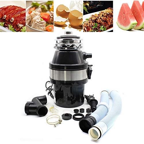 DiLiBee El triturador de basura triturador de basura triturador de alimentos 1 / 2HP Alimentación continua Comidas caseras en la cocina con enchufe 2600 RPM