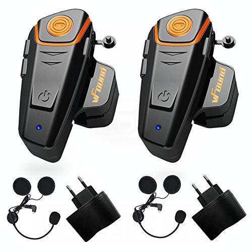 Qaurora bt-s2 1000 m auricolare Bluetooth impermeabile BT casco da moto Interphone auricolare per 2 o 3 piloti e audio da 2.5 mm per walkie talkie GPS mani libere MP3 player FM radio (confezione da 2)
