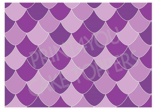 A4 Feuille de glaçage gâteau comestible Fond Décorations - Nwp43 Mermaid Poisson Balances Violet