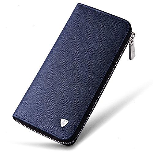William Polo da uomo in vera pelle lungo borsa cerniera portafoglio Money Clip, Blue (blu) - POLO119-Blue