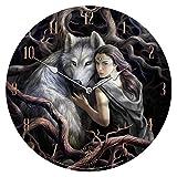 Unbekannt Nemesis Now Soul Bond Frau & Wolf Wanduhr by Anne Stokes–34cm