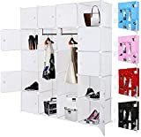 Kesser® Kleiderschrank DIY Schrank Regalsystem Steckregal Garderobe Schuhregal, Größe:20 Boxen / 1000 Liter;Farbe:Weiß 20 Boxen