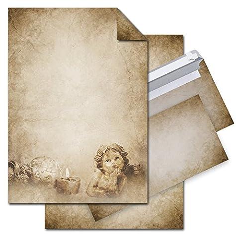 SET: 12 Blatt VINTAGE ENGEL Weihnachts-Briefpapier beidseitig bedruckt, Motiv-Drucker-Schreib-Dekor-Schreib-Papier + 10 Stück Kuverts; braun beige marmoriert auf alt antik