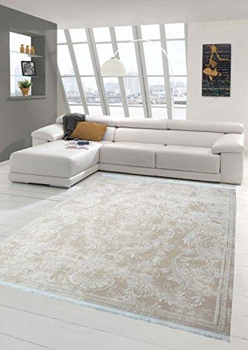 Traum Designer Teppich Moderner Teppich Wollteppich Meliert Wohnzimmerteppich Wollteppich Ornament Beige Größe 160x230 cm