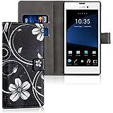 kwmobile Hülle für Sony Xperia T3 (Style) - Wallet Case Handy Schutzhülle Kunstleder - Handycover Klapphülle mit Kartenfach und Ständer Blumen Swirl Design Weiß Schwarz