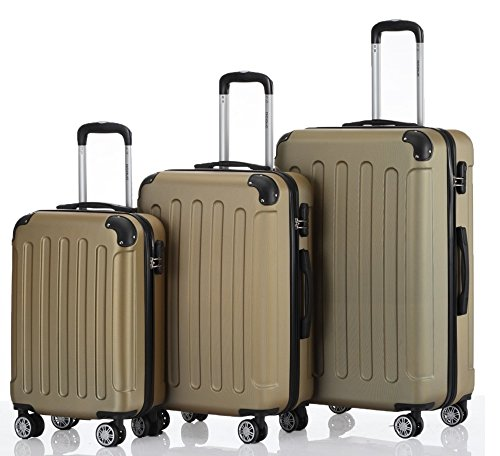 BEIBYE 2045 Reisekoffer Trolley Kofferset Hartschale Set Gold