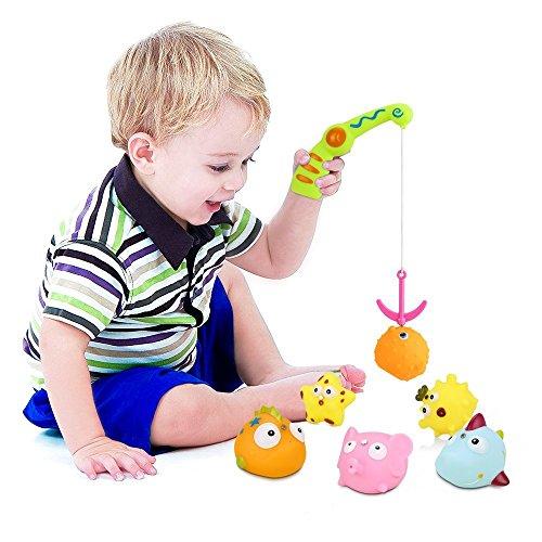 Bad Angeln Spielzeug,Komake Badespielzeug Angelspiel Badewannenspielzeug Lernspiel für Baby Kinder mit einer Magnetischen Angelrute, 6 Meer Cartoon Tiere Wasserspielzeug und einer Mesh-Tasche für die Lagerung