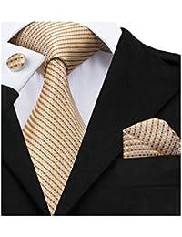 Barry.Wang Tie Pocket Square Cufflinks Set Striped Neckties Woven Silk