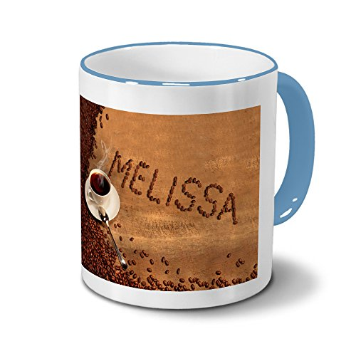 Tasse mit Namen Melissa - Motiv Kaffeebohnen - Namenstasse, Kaffeebecher, Mug, Becher, Kaffeetasse -...