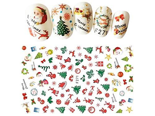 XeibD Elegant 3D Weihnachtsweihnachtsmann-Nagel-Aufkleber-Blumen-Nagel-Kunst-Dekorationen gelegentlich