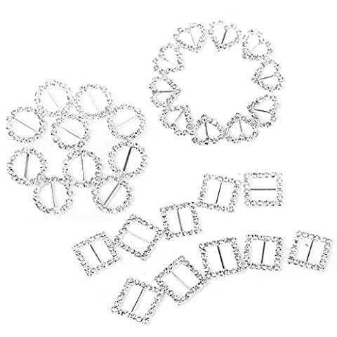 30pcs Heart + Round + Square Shape Ribbon Buckle Sliders for DIY Craft Wedding Card Invitation Favor