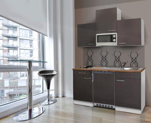 respekta Küchenblock 150 cm weiß grau mit APL Butcher Nussbaum Mikrowelle KB150WGMI