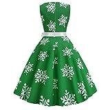 Xmiral Weihnachten Kleid Damen Ärmellos Schnee Druck Verband Vintage Kleid Partykleider (M,Grün)