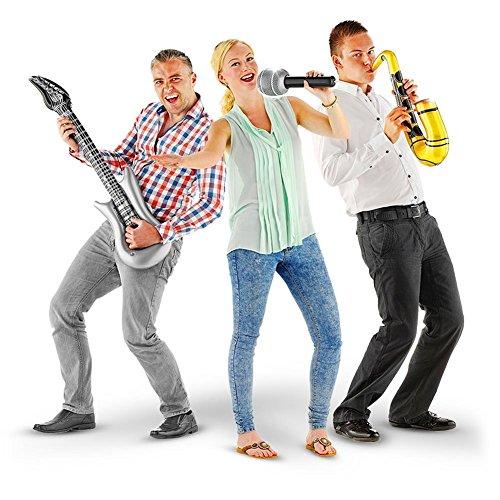 3er Set aufblasbare Band E-Gitarre Gitarre Mikrofon Saxophon Gummiband 96 x 24 cm (Lustige Aufblasbare Mikrofon)