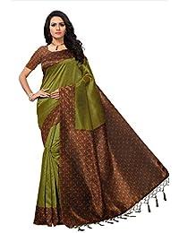 Fabwomen Sarees Kalamkari Green And Multi Coloured Mysore Silk With Tessals Fashion Party Wear Women's Saree/Sari...