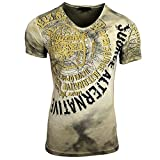 Rusty Neal Herren T-Shirt Verwaschen Figurbetont A1-RN-15163, Größe:M, Farbe:Khaki