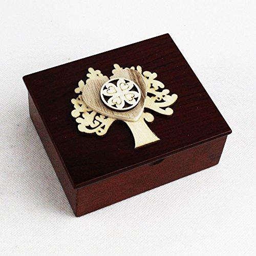 Dlm26694 (kit 6 pezzi) scatola portagioie albero della vita cuore e quadrifoglio portafortuna bomboniera