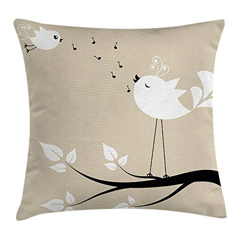VYPHN Birds Throw Pillow Cushion Cover, Two Birds on a Branch Singing Love Songs Friend Valentine Couple Hope Living, Decorative Square Accent Pillow Case, 18 X 18 inches, Cream Black White -