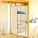 #5: PINDIA Non-Woven Cloth Hanging Storage Wardrobe, 4 Layers, Cream (SRW3000136)