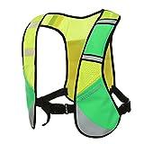 Reflektierende Lauf Weste Hohe Sichtbarkeit Sicherheit Fahrrad Running Dog Walking Weste Herren Frauen mit 3Taschen für Handy, Wasser Flasche, Sporting Zubehör, damen, gelbgrün