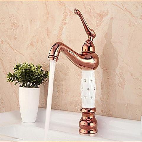 YanCui@ Hogar y cocina Baño Grifos de lavabo Europeo cobre agujero simple oro rosa oro mezcla agua caliente y fría lavabo/fregadero monocomando ,