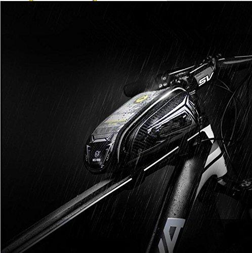 FAN4ZAME Fahrradtasche Rohrbündel Vorderer Träger Pack Handy Tasche Wasserdicht Touchscreen Mountainbike Sattel Tasche B