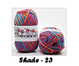 #5: Newest range of Milk Cotton Blended Worsted weight 5Ply Yarn (Pack of 2) each 50 Grams Beautiful Mixed color for Crocheting/ Hand Knitting, Sweater, Baby Clothes, Doll, Blanket, Hats Socks and various other craft projects etc…Shade No - 23