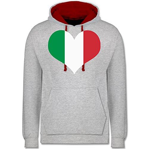 Länder - Italien Herz - Kontrast Hoodie Grau Meliert/Rot