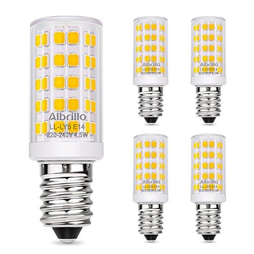 Albrillo 400lm 5er Pack 4.5W E14 LED Lampe, 3000k warmweiß LED E14 Birnen statt 60W Glühlampe, mit 64×2835 SMD LEDs E14 Energiesparlampe