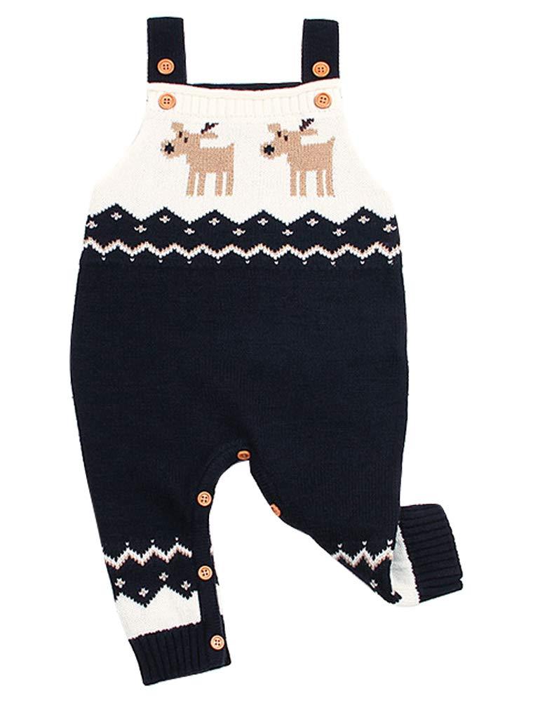 Odziezet Navidad Peleles Mono de Punto Bebé Pantalones con Peto Rojo Azul Invierno Recién Nacido 0-1años 1
