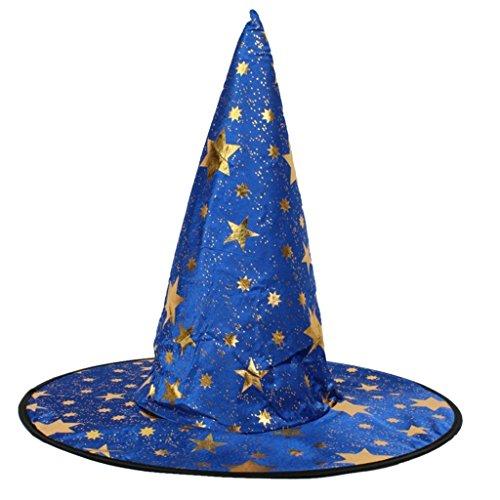 nd Hexenhut Halloween Party Kostüme Hexe Verkleidung Zubehör Karneval Fasching Zauberin Zauberhut Kegel Kappe - Blau, 37cm * 18cm * 35cm ()