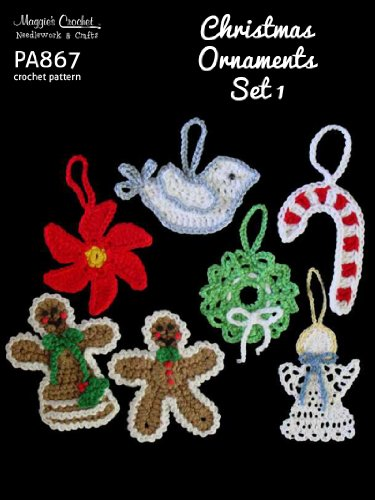 Crochet Pattern Christmas Tree Ornament Set PA867-R (English Edition) -