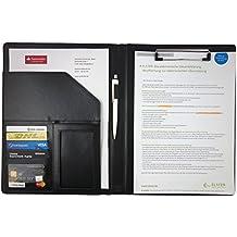 Pappeln Klemmbrettmappe A4 in schwarz – hochwertige Schreibmappe Konferenzmappe Business in Lederoptik – inkl. Schreibblock, optimaler Einsatz in Büro, Schule und Studium