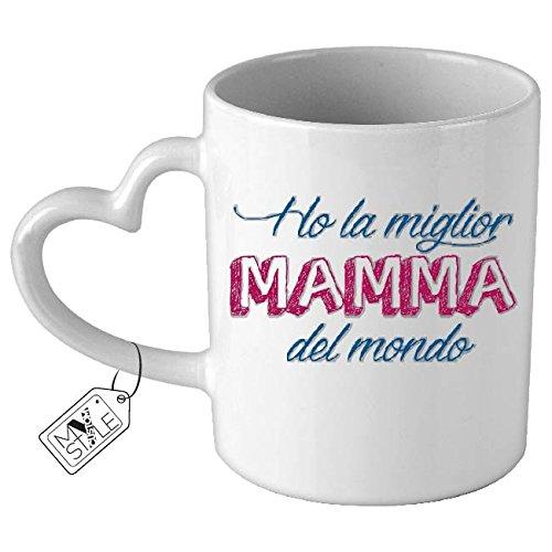 My custom style© tazza in ceramica , con manico a forma di cuore, modello festa della mamma - la miglior mamma del mondo. ottima idea regalo o per rendere unico ogni momento della tua giornata.