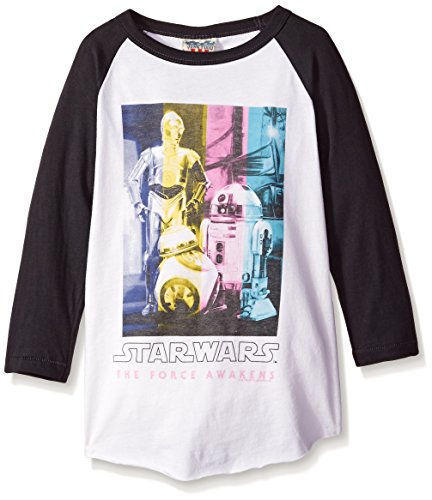 junk-food-womens-star-wars-ep-7-droids-in-technicolor-girls-raglan-shirt-x-small