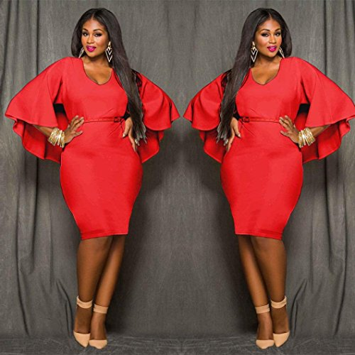 Grande Taille Femme Robe Kolylong Sexy Batwing Robe De Cocktail Taille Haute Slim Dress Rouge