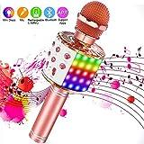 SaponinTree Microfono Karaoke Bluetooth Portatile, Microfono Bluetooth con Luce LED Altoparlante Funzione di Registrazione, Portatile per Bambini per Casa KTV Esterno Festa