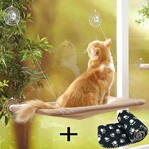 regalos kawaii gato JZK Ventana montada hamaca para gato + manta gato, cama colgante mascota ventosas y manta negra para gato perca