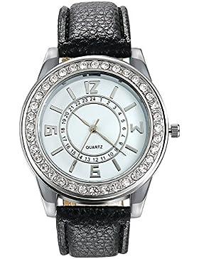 Lancardo Fashion Damen Herren Armbanduhr silber mit Strass , Analog Quarz Sport Digital Uhr mit Leder Armband,...